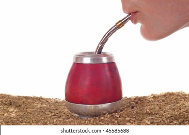 Woman drinking yerba mate