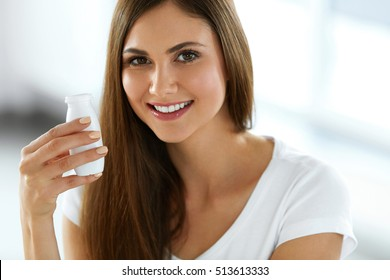 Woman With Drinking Yogurt. Healthy Happy Young Female On Diet Holding Bottle Of Natural Yoghurt. Portrait Of Beautiful Smiling Girl With Fresh Organic Dairy Drink. Nutrition Concept. High Resolution