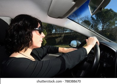 Woman driving a car