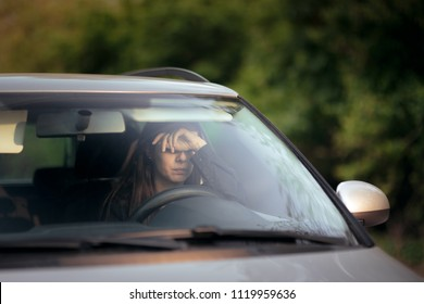Woman Driving Feeling Anxiety Behind the Wheel