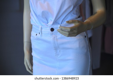 woman dummy showcase fashion white dress outfit model waistline hand