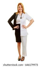 Woman during her apprenticeship with dual studies half doctor half businesswoman