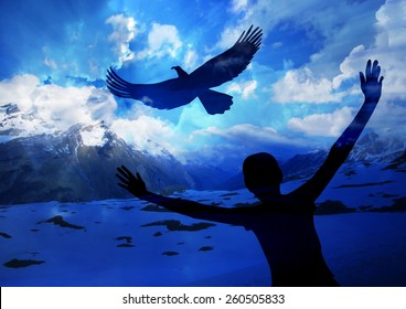 Woman and eagle-  Soar like an eagle....popular new testament passage