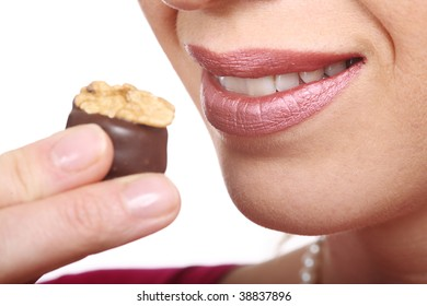 woman eat confectionery