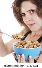 woman eat flakes