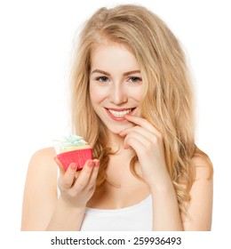 Woman eating cake on white