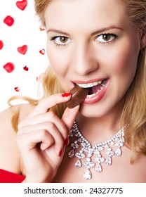 woman eating chocolate,valentine day