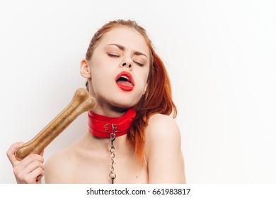 Woman eating dog bone