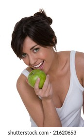 woman eating granny smith apple