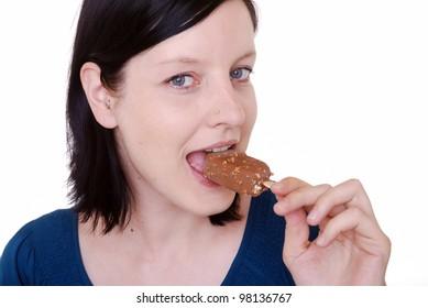 woman eats ice cream