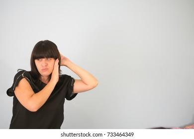 woman eavesdrops