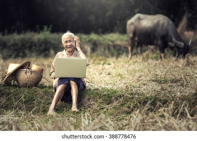 Woman elderly rural residents are using technology