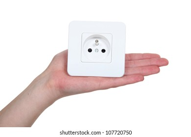 Woman with electrcial plug