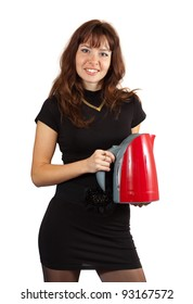 Woman with electric tea kettle. Isolated ove white background