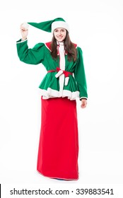 Woman elf, Christmas, isolated on white background, in studio