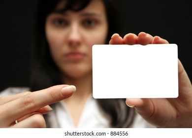The woman with an empty visiting card