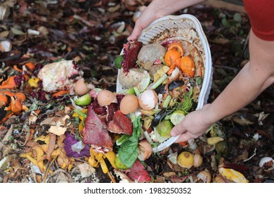 Woman emptying kitchen waste on to a compost pile with layers of organic matter and soil