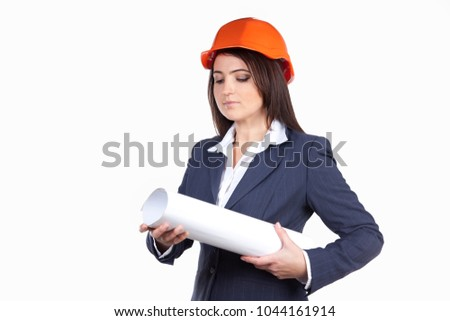 fe725b26b81f2 Woman engineer with blueprints in hard hats. Preliminary design. Concept of  future home Architect