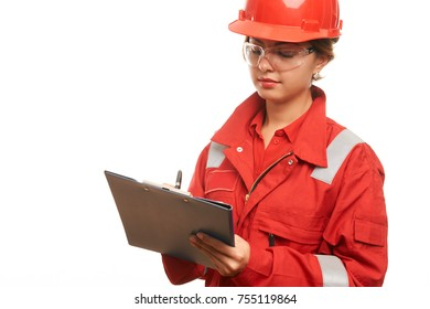 Woman engineer and construction worker in hard hat and workwear uniform are checking the list on the clipboard isolated on white background with copy space. Close-up portrait