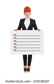 Woman engineer holding poster with drawing checklist