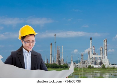 woman engineer and the oil plant
