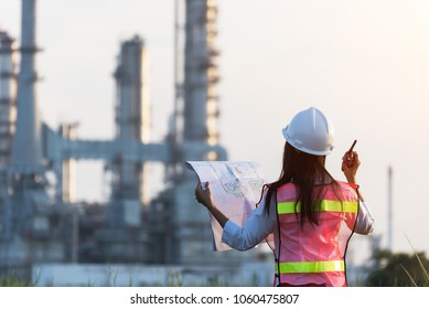 woman engineer and working new project in power plant, Engineer Concept,professional,safety,industry