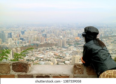 Woman Enjoy Panoramic View of Santiago from San Cristobal Hilltop, Chile, South America