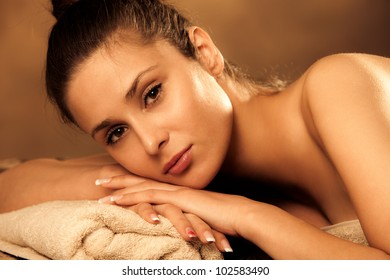 woman enjoy in spa salon