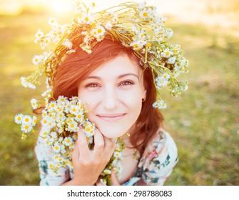 Woman enjoy summer in the field