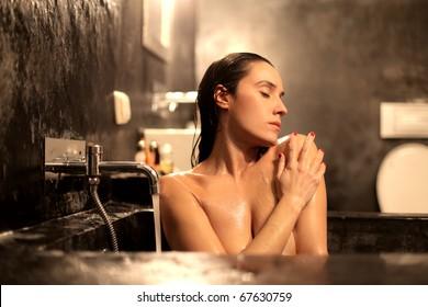 Woman enjoying a bath