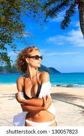 Woman enjoying the beach in Thailand