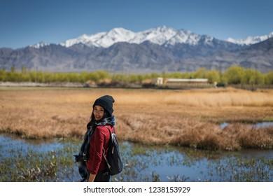 woman enjoying of landscape view in  Leh Ladakh, India