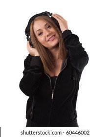 Woman enjoying music on headphones ,isolated on white