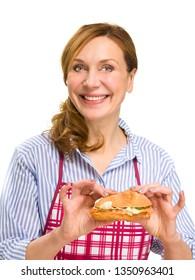 Woman enjoying salmon slices on bread. On white background.