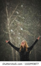 Woman enjoying snowing outdoor