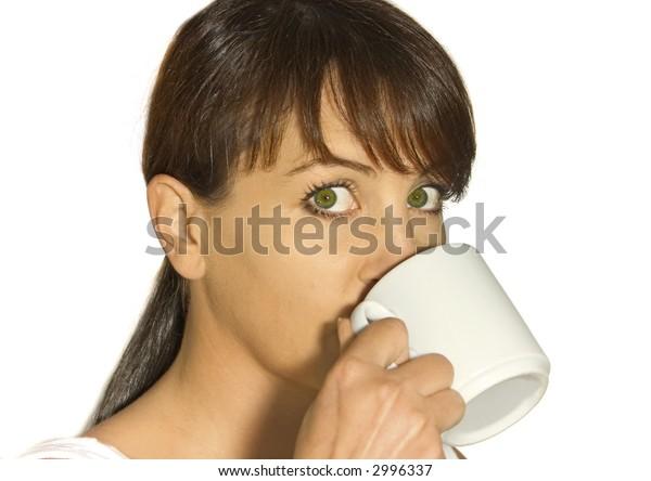 woman enjoying warm beverage