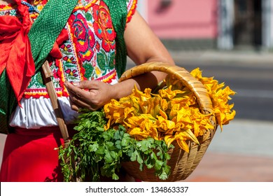 Woman in ethnic traditional Mexican dress, Latin America. Travel background for Mexico.