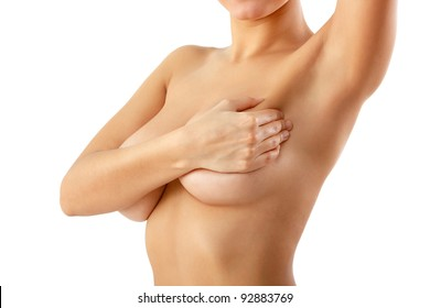 woman examining breast mastopathy or cancer isolated