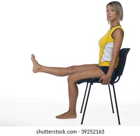 woman exercise on chair