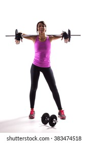 Woman exercising with a barbell weight
