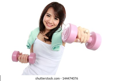Woman exercising with free-weights isolated over white background