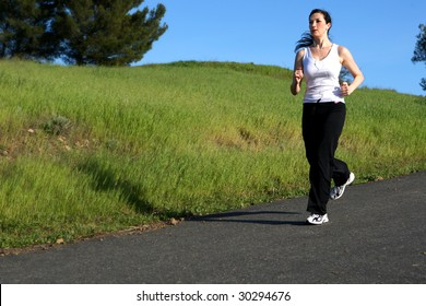 Woman exercising on a summer day