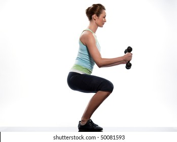 woman exercising workout on white background