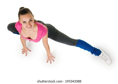 woman exercising yoga stretching legs warm up. isolated on white