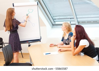 woman is explaining something to her business partners