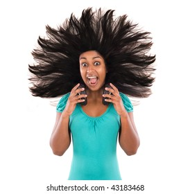 Woman with exploding hair