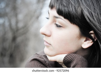 Woman expressing depression; depression face