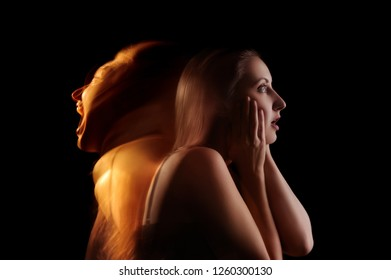 Woman expressing inner fears and anxiety