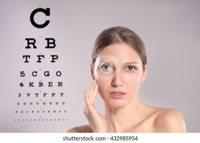 Woman and eye chart, future technology