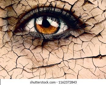 Frauen Auge, Nahaufnahme eines dramatischen Dehydratations- oder Alterungskonzepts